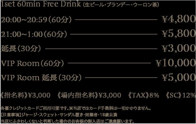 1set 60min Free Drink [ ビール・ブランデー・ウーロン茶]20:00 ~ 20:59(60min)4,800yen 21:00 ~ 1:00(60min)5,800yen 延長(30分)3,000yen VIP ROOM(60min) 10,000yen  VIP ROOM延長(30min) 5,000yen 指名料3,000yen 場内指名料3,000yen TAC8% SC12%※各種カードご利用いただけます。カード手数料は一切かかりません。